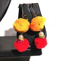 latest fashion pompom colorful stud earring